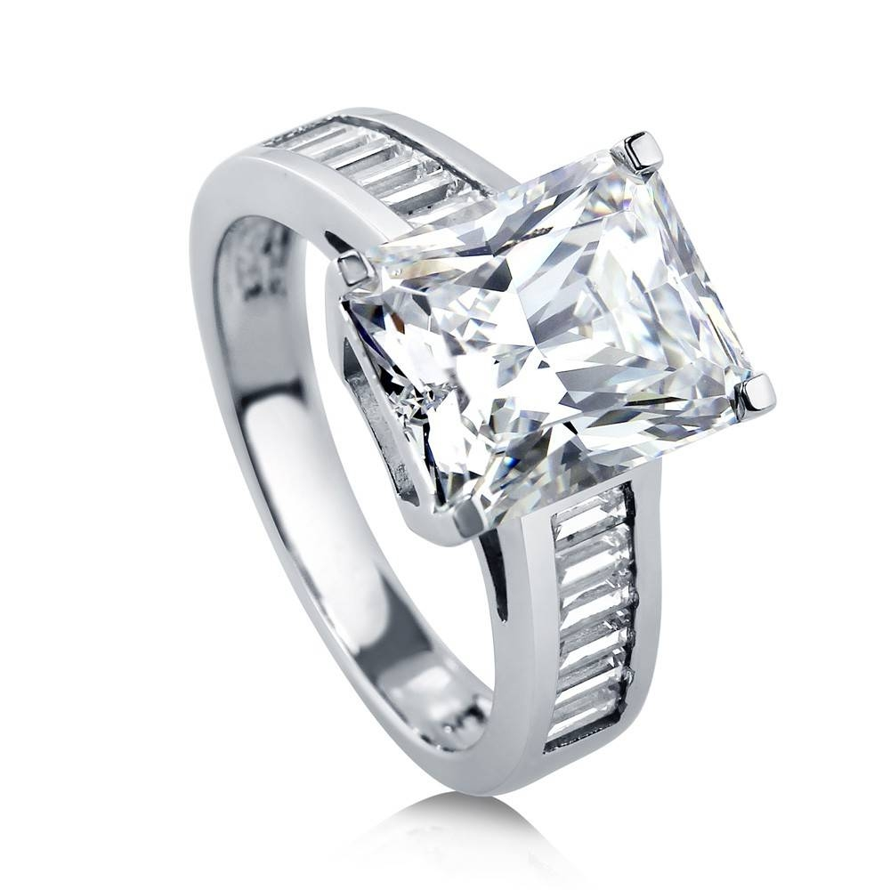 Sterling Silver Radiant Cubic Zirconia Cz Solitaire Engagement Regarding Radiant Wedding Rings (View 12 of 15)