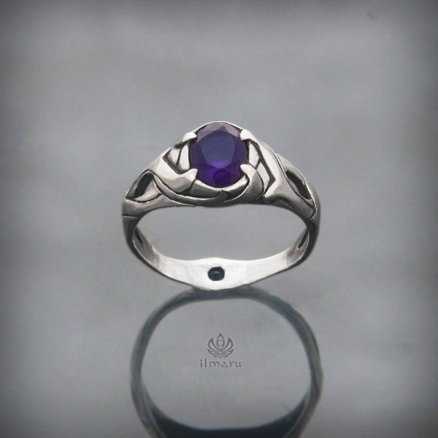 Sterling Silver Ring With African Amethyst And Sapphire Intended For Elven Inspired Engagement Rings (View 11 of 15)