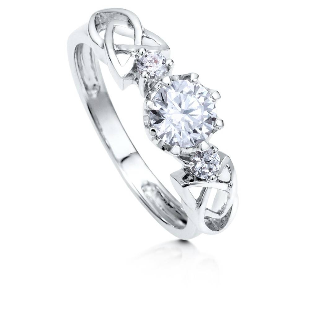 Sterling Silver Round Cubic Zirconia Cz 3 Stone Celtic Knot Throughout Celtic Diamond Engagement Rings (View 15 of 15)