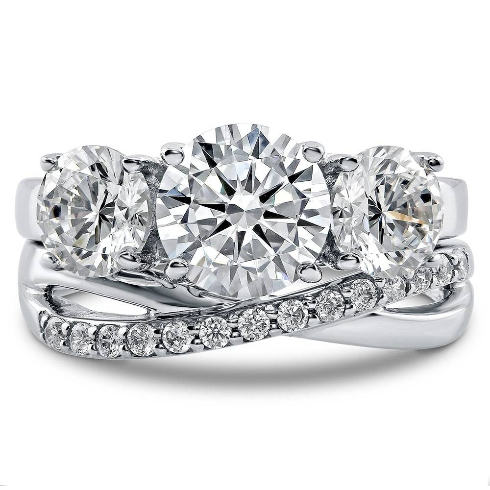 Sterling Silver Round Cubic Zirconia Cz 3 Stone Criss Cross Within Three Stone Wedding Rings (View 12 of 15)