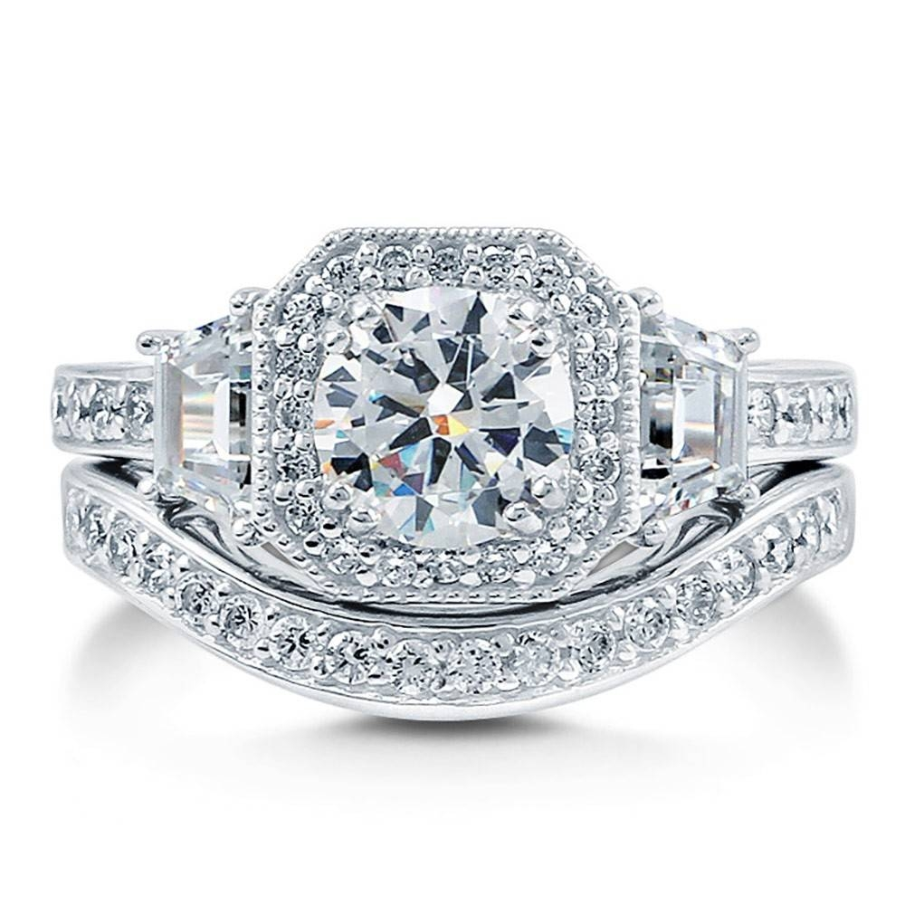 Sterling Silver Round Cubic Zirconia Cz Art Deco Halo Engagement Within Cz Diamond Wedding Rings (View 4 of 15)