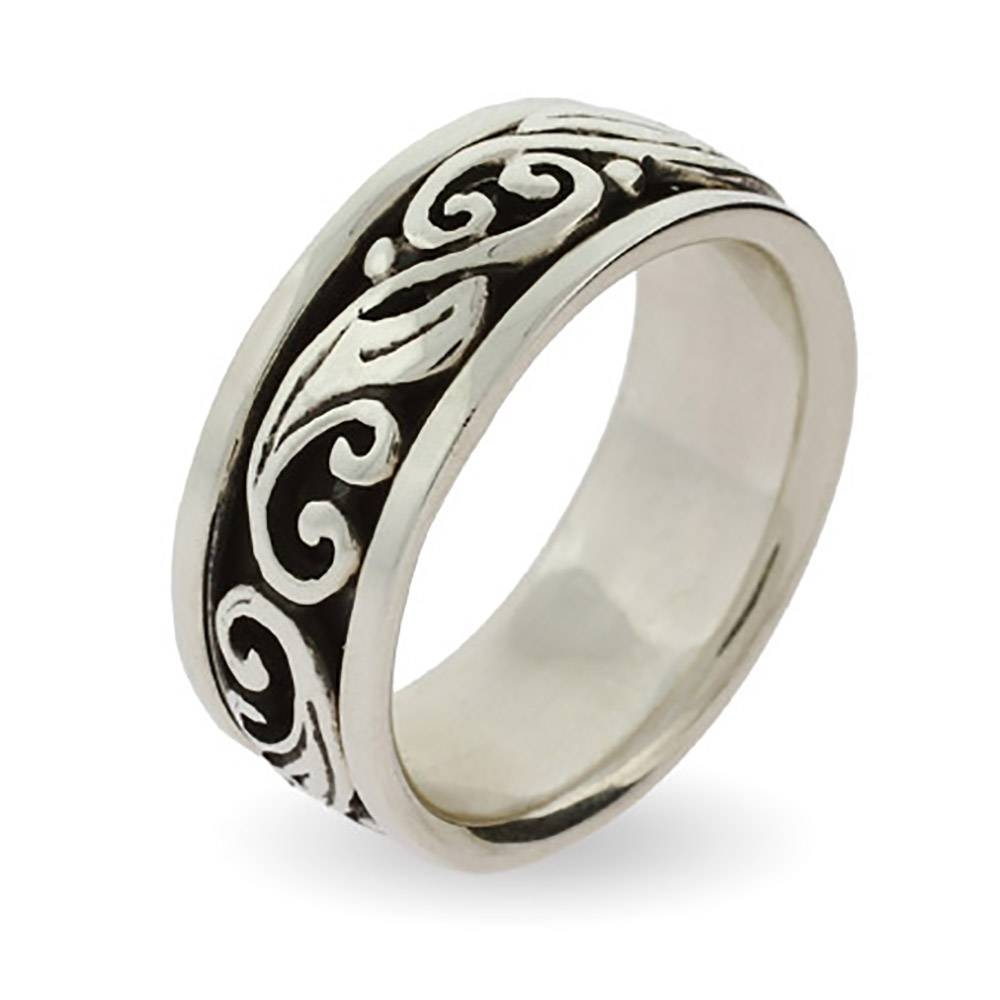 Sterling Silver Spinner Ring With Scroll Design | Eve's Addiction® Regarding Spinning Mens Wedding Bands (View 7 of 15)