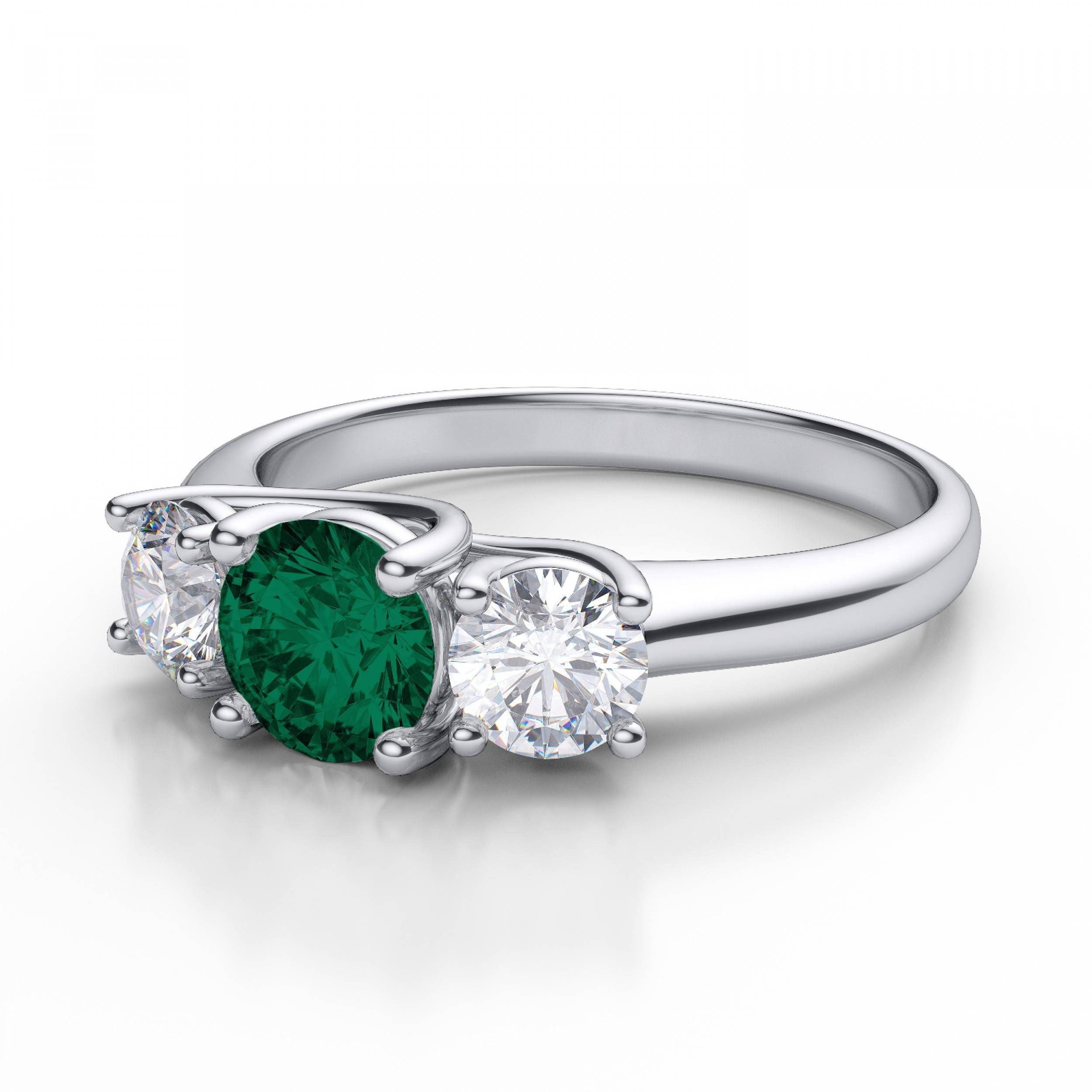 Stone Emerald Gemstone And Diamond Engagement Ring In 14k White Gold For Emerald Engagement Rings White Gold (View 9 of 15)