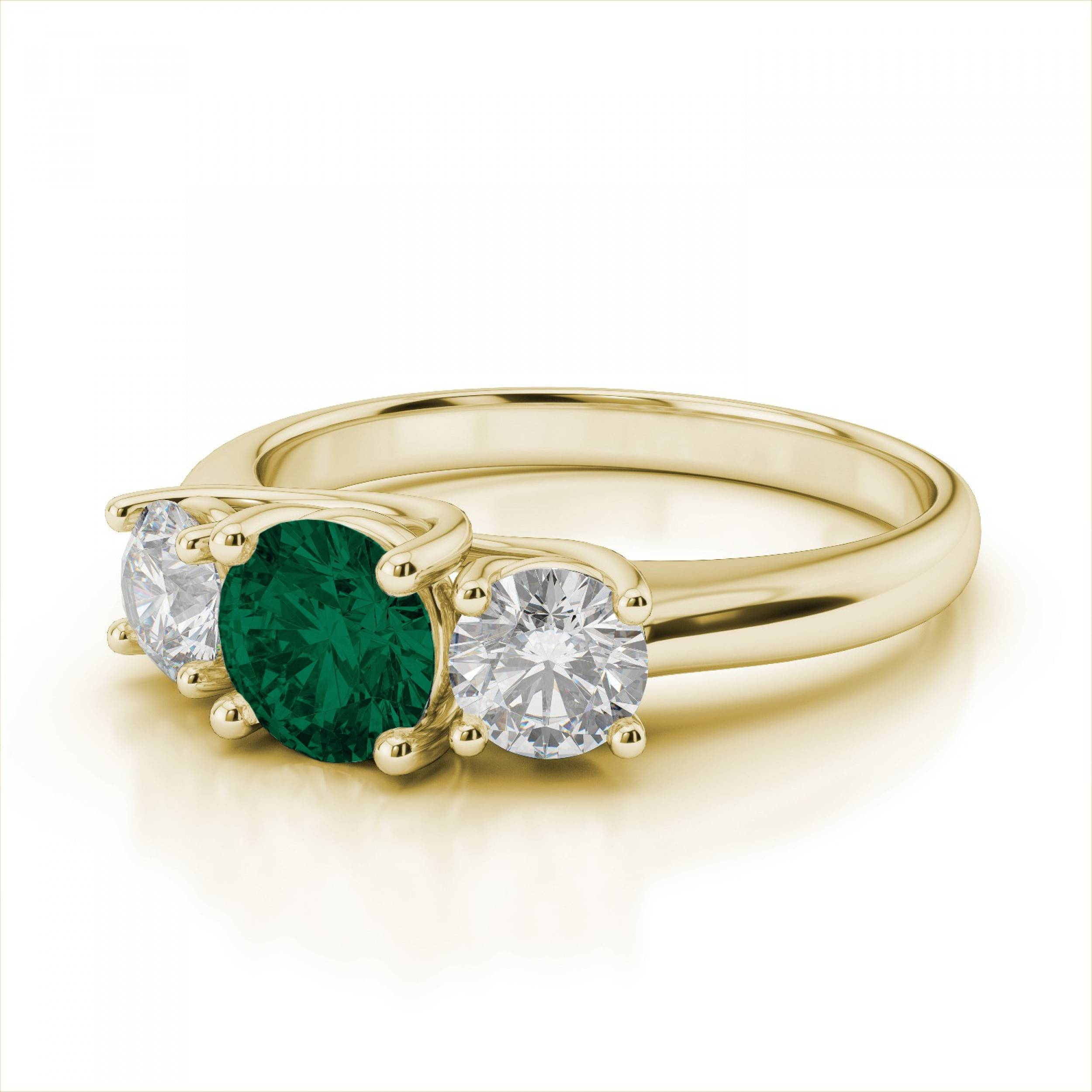 Stone Emerald Gemstone And Diamond Engagement Ring In 18K Yellow Gold Regarding Engagement Rings With Yellow Stone (View 10 of 15)