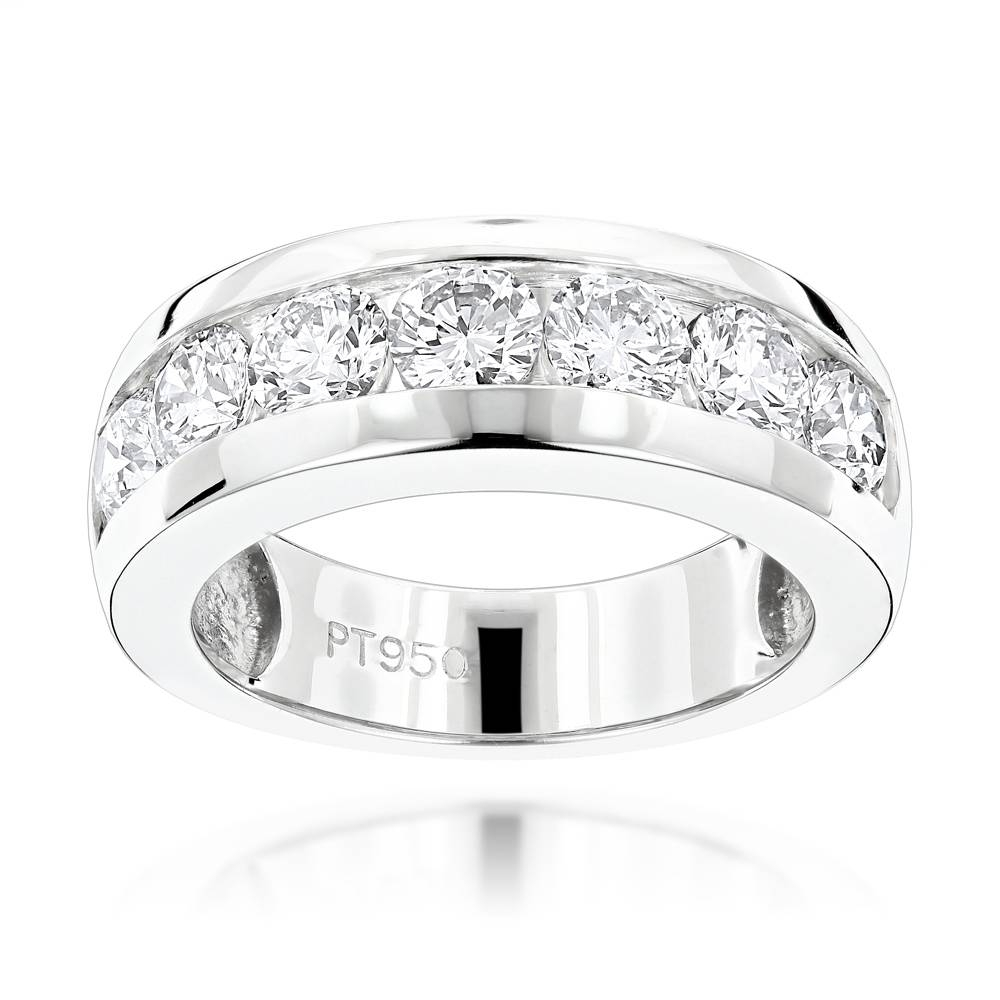 Stone Round Diamond Bands: Platinum Diamond Wedding Ring For Men (View 9 of 15)