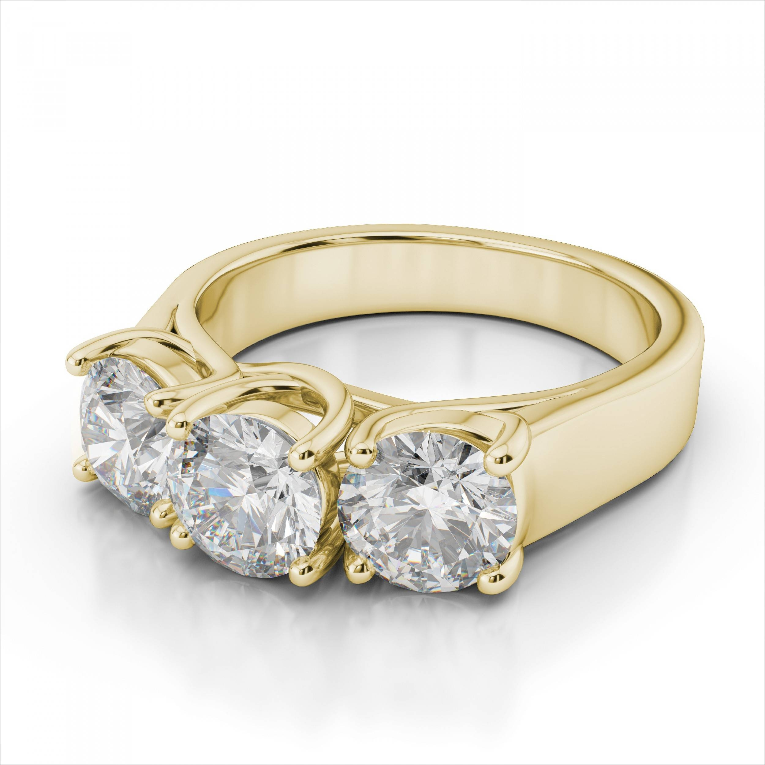 Stone Round Diamond Trellis Engagement Ring In 18K Yellow Gold Intended For Engagement Rings With Yellow Stone (View 11 of 15)