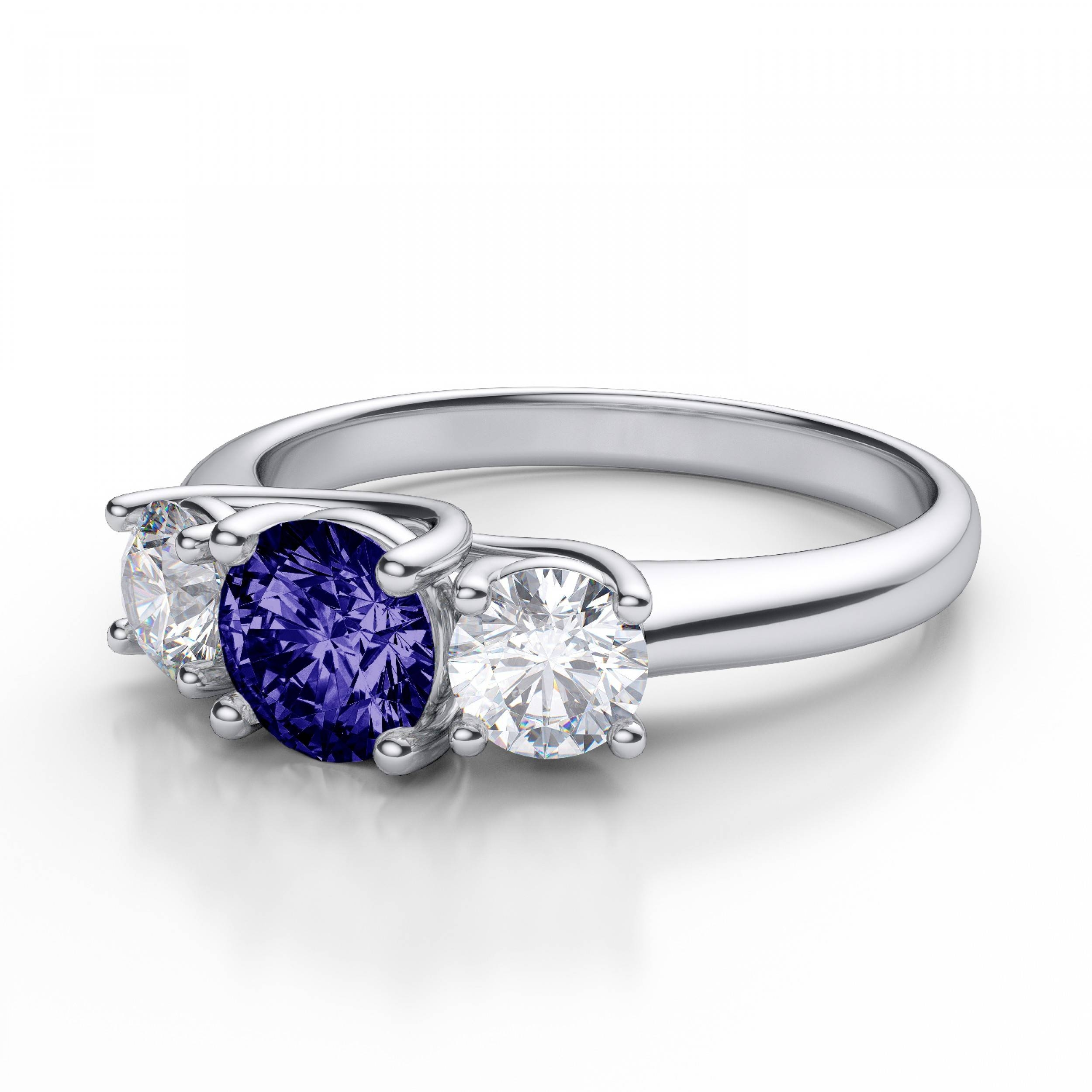 Stone Tanzanite And Diamond Engagement Ring In Platinum With Diamond Tanzanite Engagement Rings (View 13 of 15)