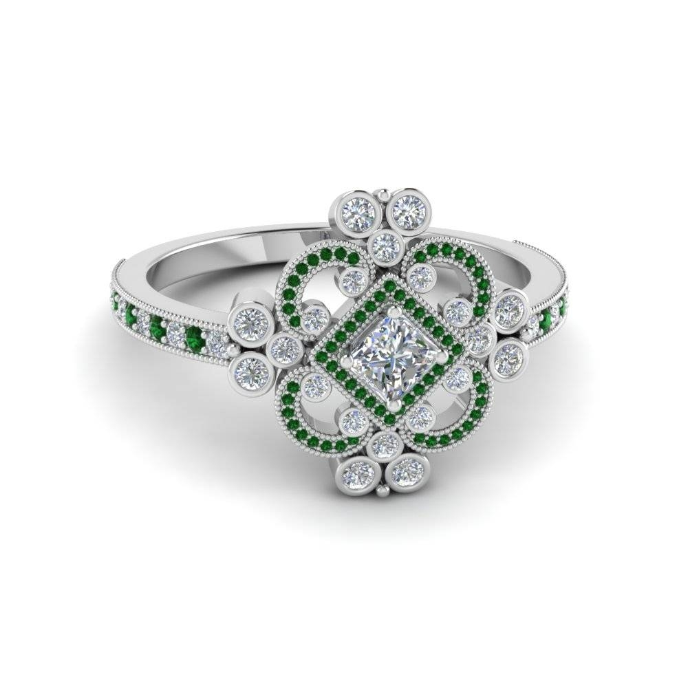 Stunning Emerald Vintage Engagement Rings | Fascinating Diamonds In Princess Cut Emerald Engagement Rings (View 14 of 15)