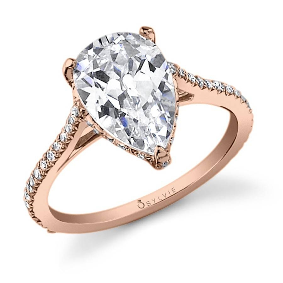 Stunning Pear Shape Diamond Engagement Ring Inside Pear Shaped Engagement Rings Diamond Settings (View 14 of 15)