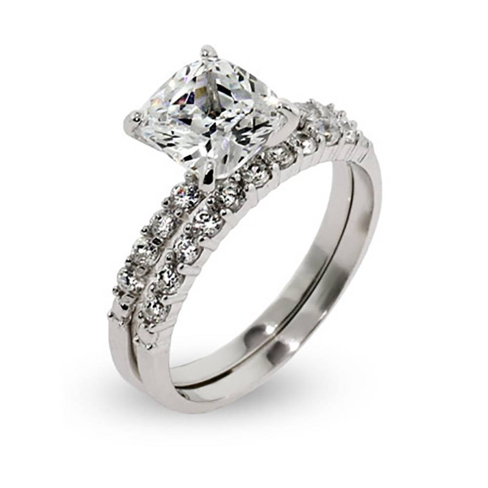 Style Cushion Cut Cz Wedding Ring Set | Eve's Addiction® Pertaining To Fake Diamond Wedding Bands (View 13 of 15)
