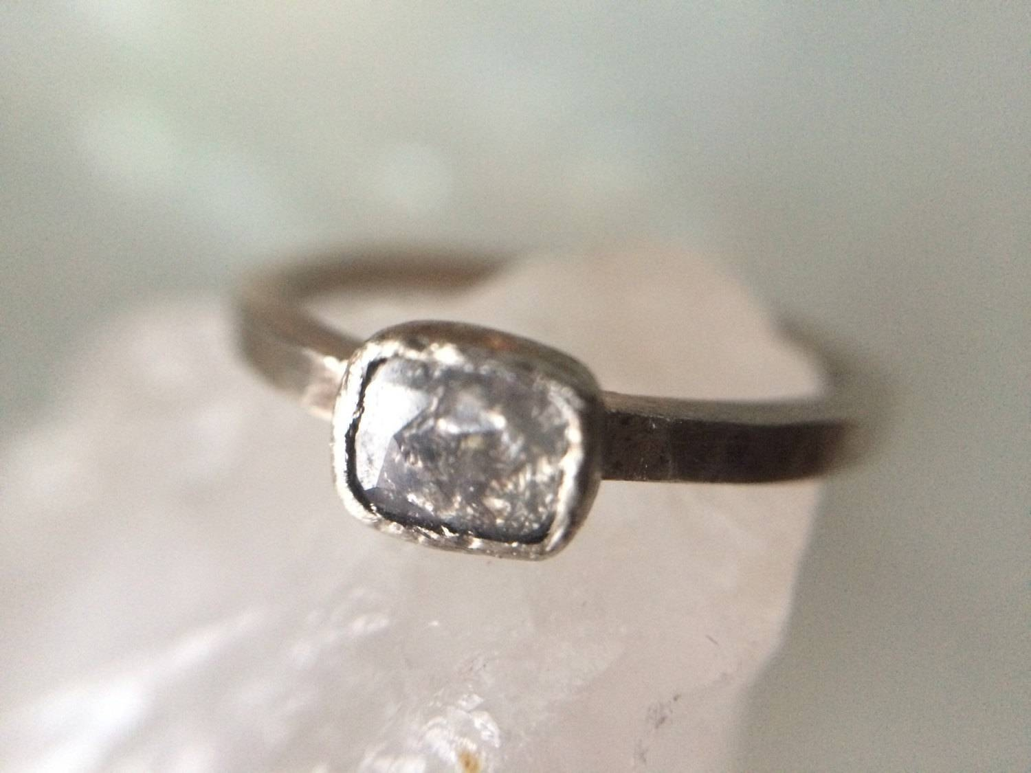 Stylish Recycled Diamond Rings 14K White Gold Rustic Hammered Gold For Rustic Engagement Rings (View 8 of 15)