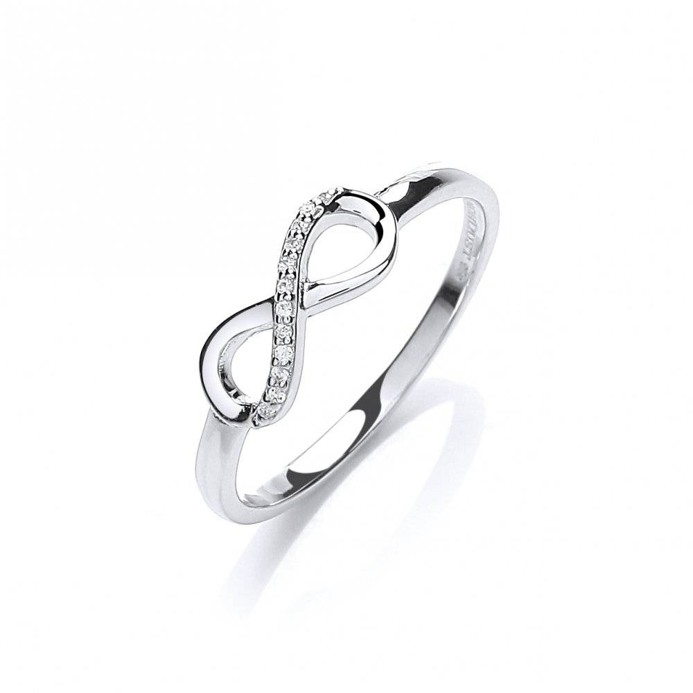Swarovski Zirconia Pave Set Eternity Silver Ringdavid Deyong Inside Infinity Symbol Wedding Rings (View 15 of 15)