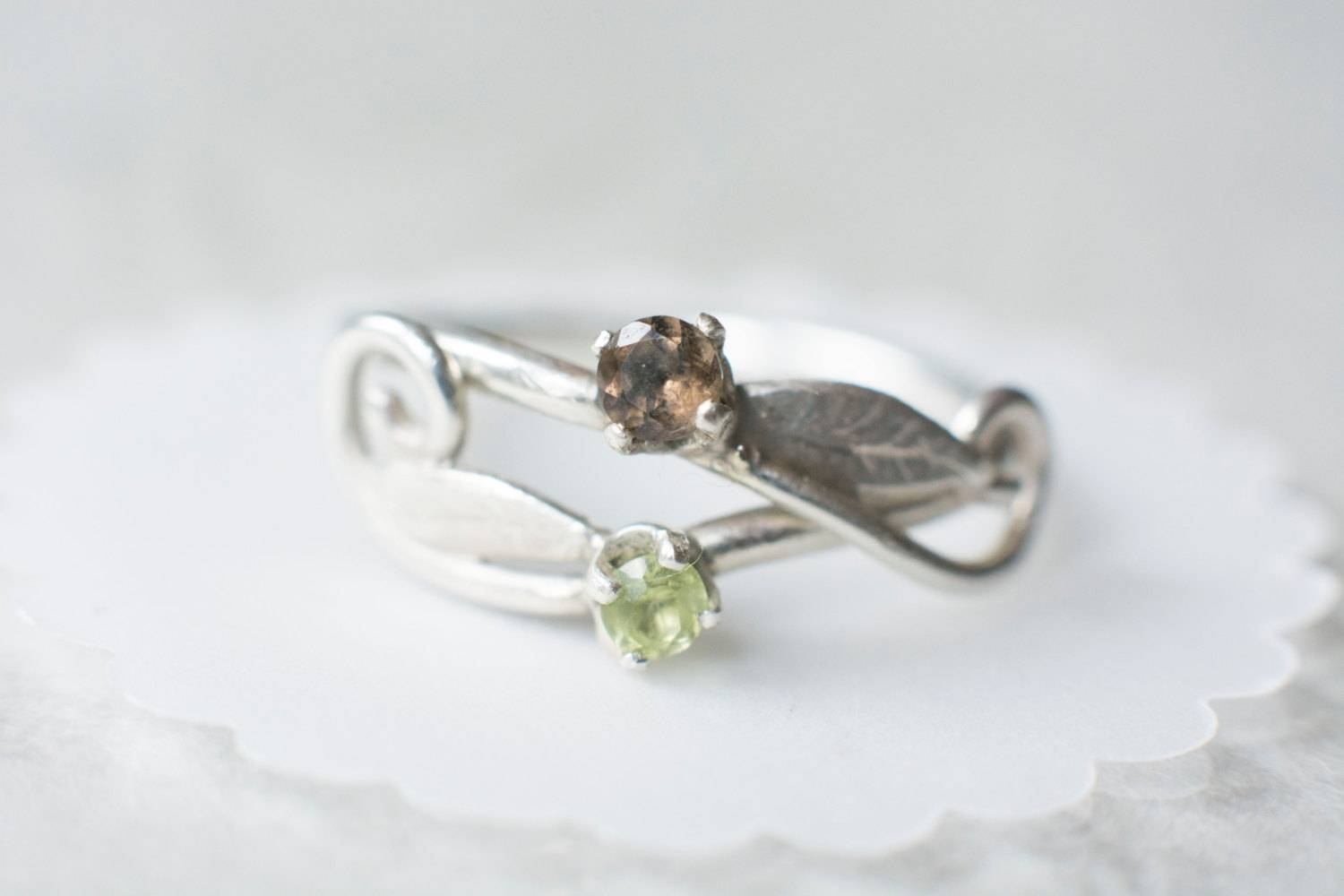 Swirly Elvish Forest Leaf Engagement Ring With Stones: In Elven Inspired Engagement Rings (View 6 of 15)