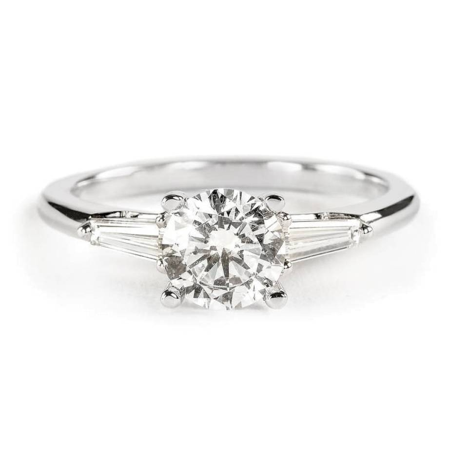 Sylvie Collection Engagement Ring With Tapered Baguette Diamonds With Baguette Diamond Wedding Rings (View 15 of 15)