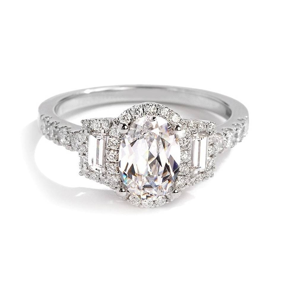 Sylvie Collection Oval And Baguette Diamond Engagement Ring In Baguette Diamond Wedding Rings (View 6 of 15)