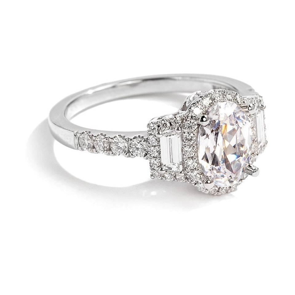 Sylvie Collection Oval And Baguette Diamond Engagement Ring Within Baguette Diamond Wedding Rings (View 3 of 15)