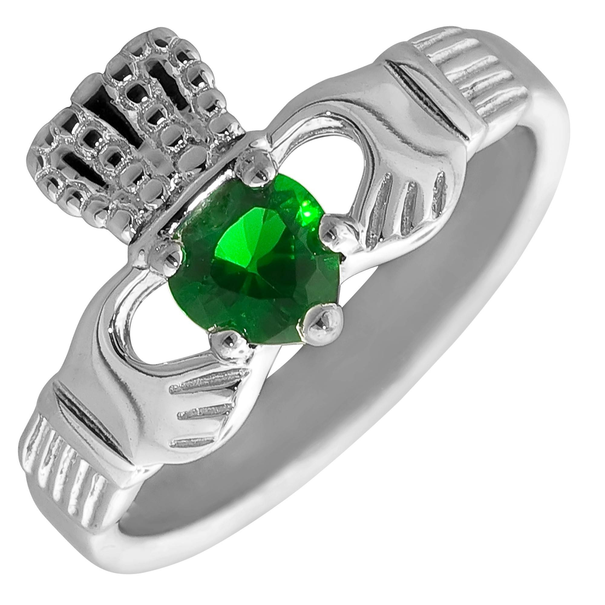 Synthetic Emerald Claddagh Ring In Sterling Silver (size 7) For Emerald Claddagh Engagement Rings (View 10 of 15)