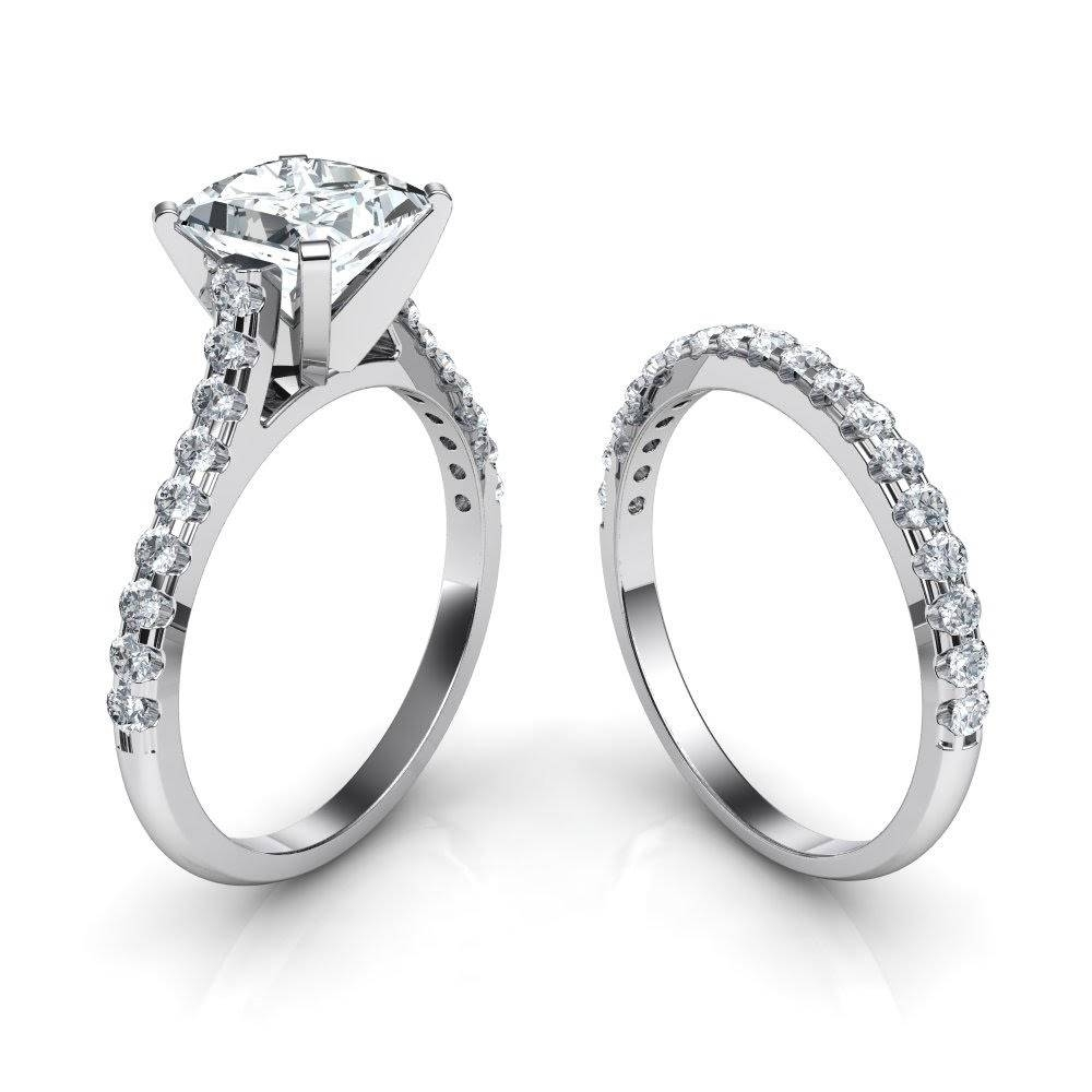 Tall Cathedral Engagement Ring And Wedding Band Bridal Set In Engagement Rings With Wedding Band Set (View 10 of 15)