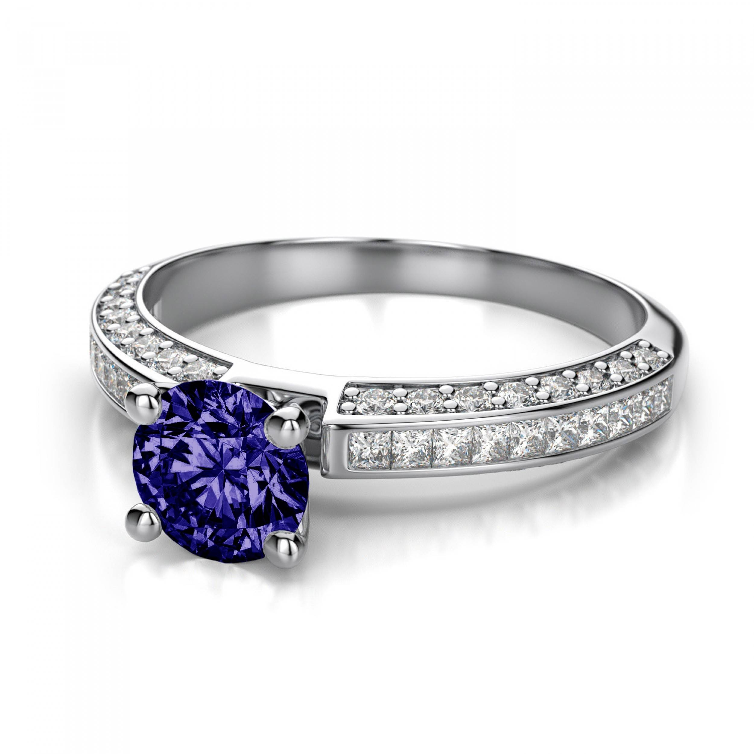 halo a and diamonds tanzanite by on pin cut princess surrounded cushion shank diamond with the
