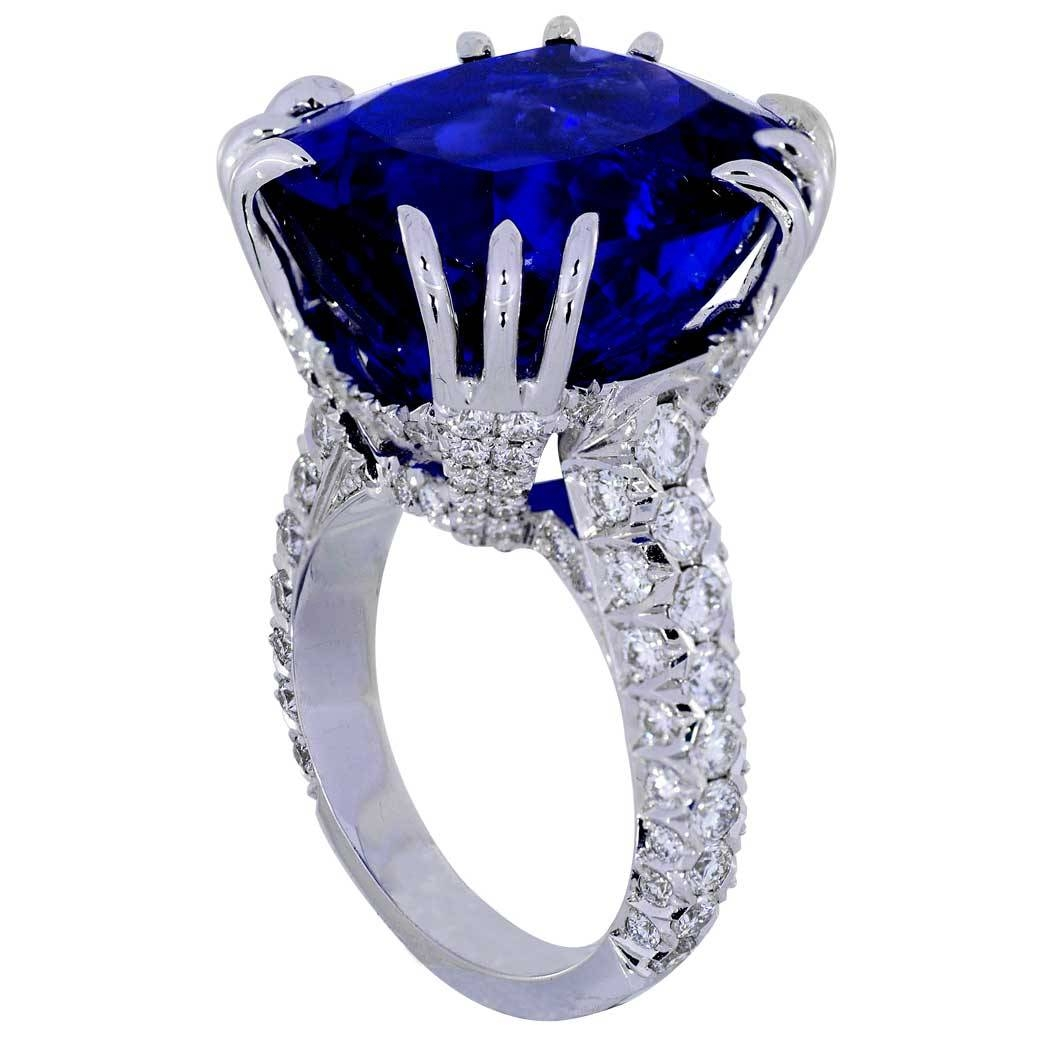 Tanzanite Diamond Ring White Gold – Adamantine – South Bay Gold – Regarding Tanzanite Engagement Rings With White Gold (View 8 of 15)