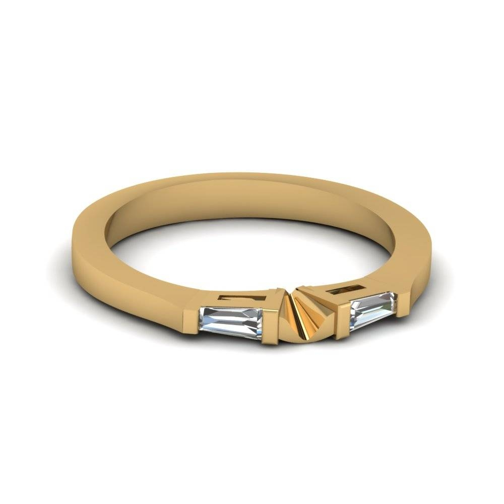 Tapered Baguette Diamond Womens Wedding Band In 14k Yellow Gold Throughout Wedding Bands With Baguettes (View 5 of 15)