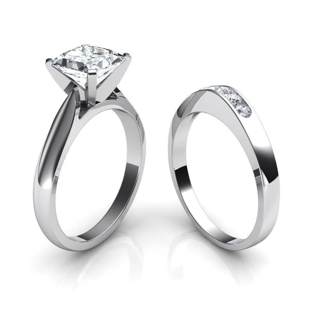Tapered Cathedral Princess Cut Solitaire Engagement Ring Bridal Set Throughout Wedding Rings To Go With Solitaire Engagement Rings (View 12 of 15)