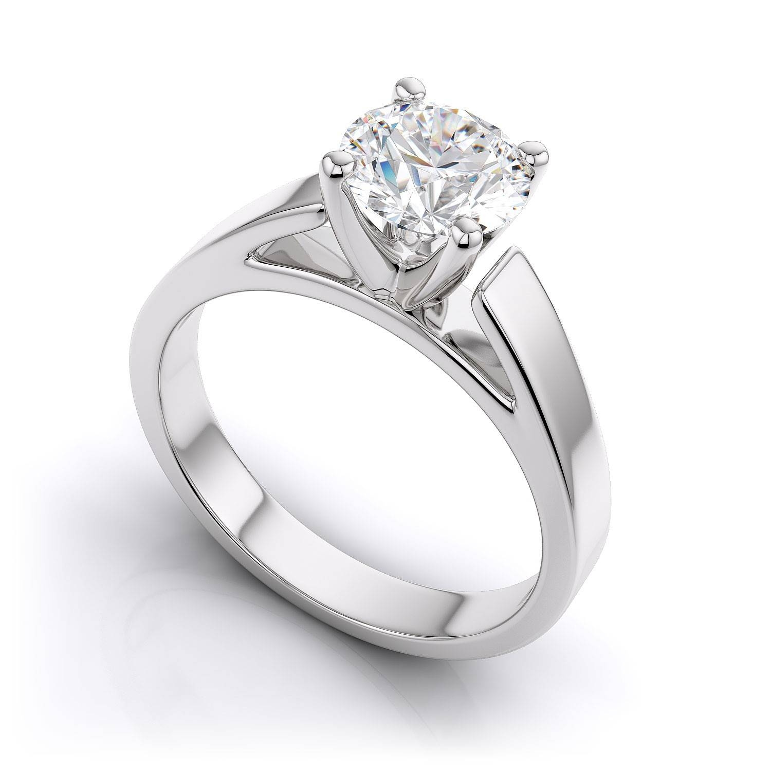 Tapered Cathedral Solitaire Engagement Ring – 14k White Gold Inside Diamond Wedding Rings Settings (View 12 of 15)