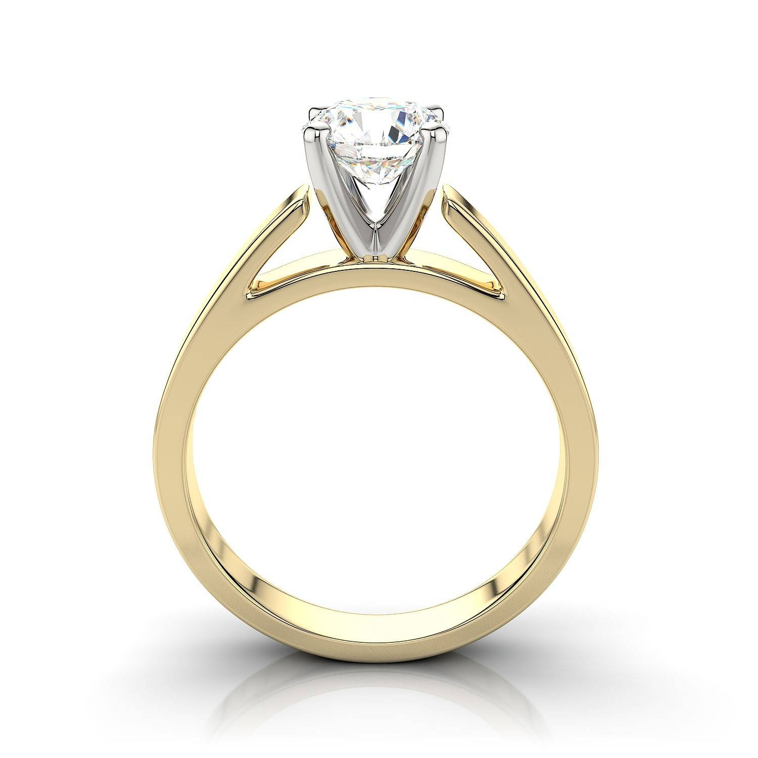 Tapered Cathedral Solitaire Engagement Ring – 18k Yellow Gold Intended For Diamond Wedding Rings Settings (View 11 of 15)