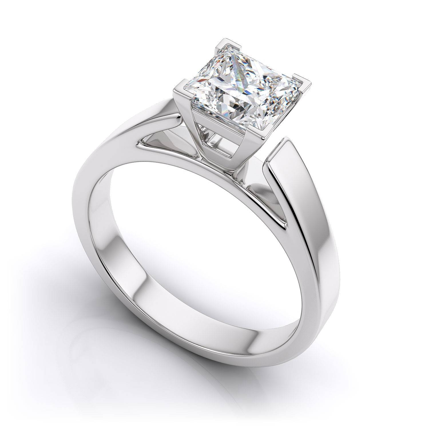 Tapered Princess Cut Solitaire Engagement Ring – Platinum For Platinum Wedding Rings Settings (Gallery 3 of 15)