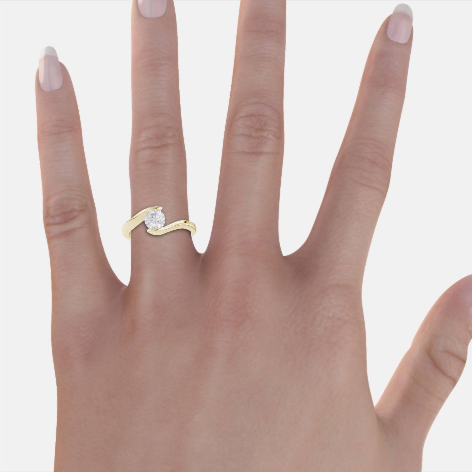 Tension Set Bypass Solitaire Engagement Ring – 18K Yellow Gold With Tension Set Engagement Rings With Wedding Bands (View 10 of 15)
