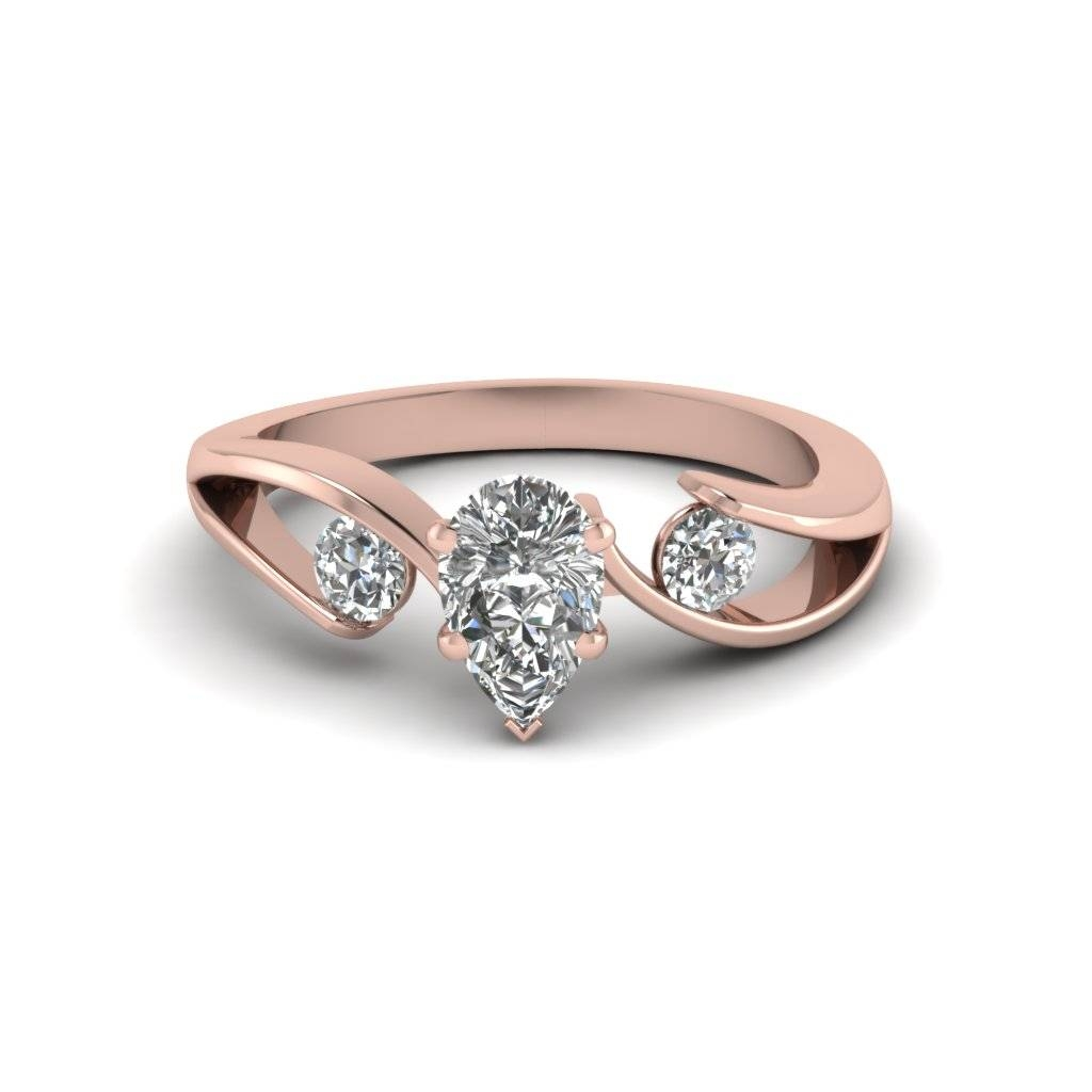 Tension Set Pear Shaped 3 Stone Diamond Ring In 14k Rose Gold Pertaining To Pear Shaped Engagement Ring Settings (View 3 of 15)