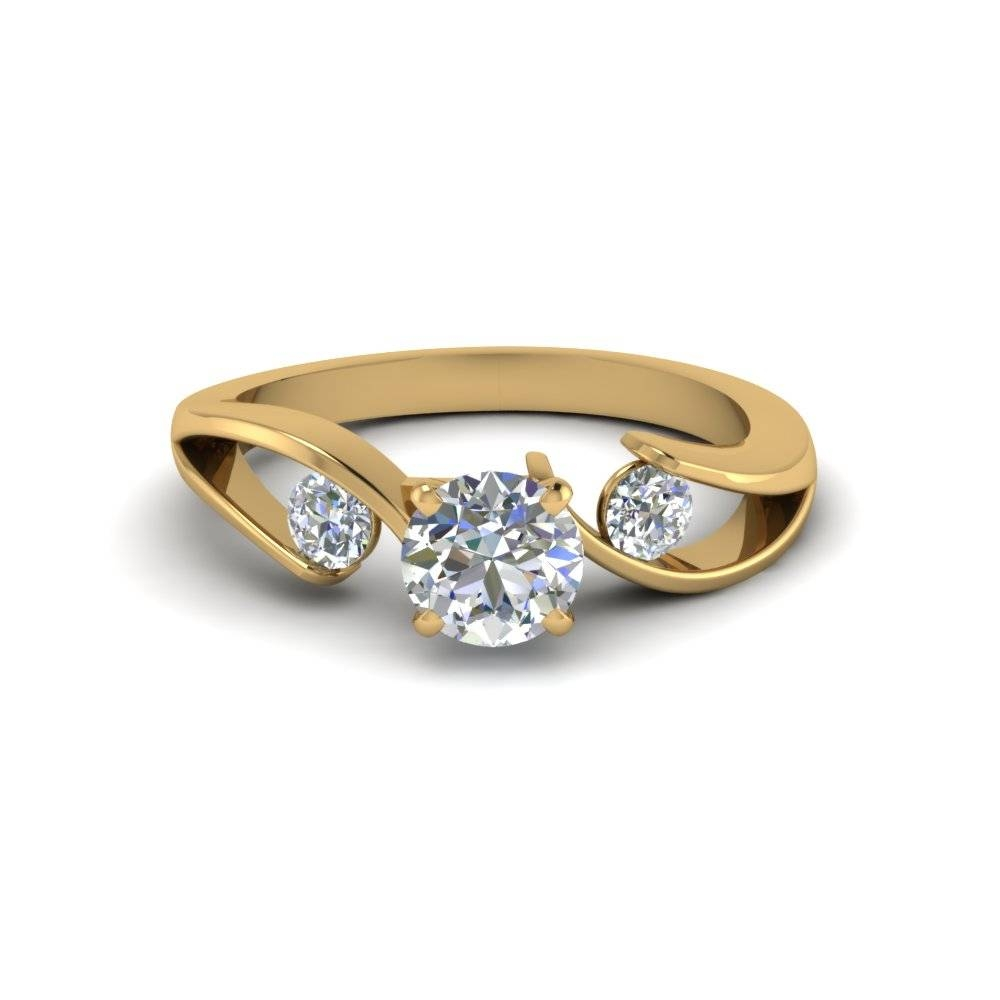 Tension Set Round Cut 3 Stone Diamond Ring In 14K Yellow Gold Pertaining To Tension Set Engagement Rings With Wedding Bands (View 13 of 15)