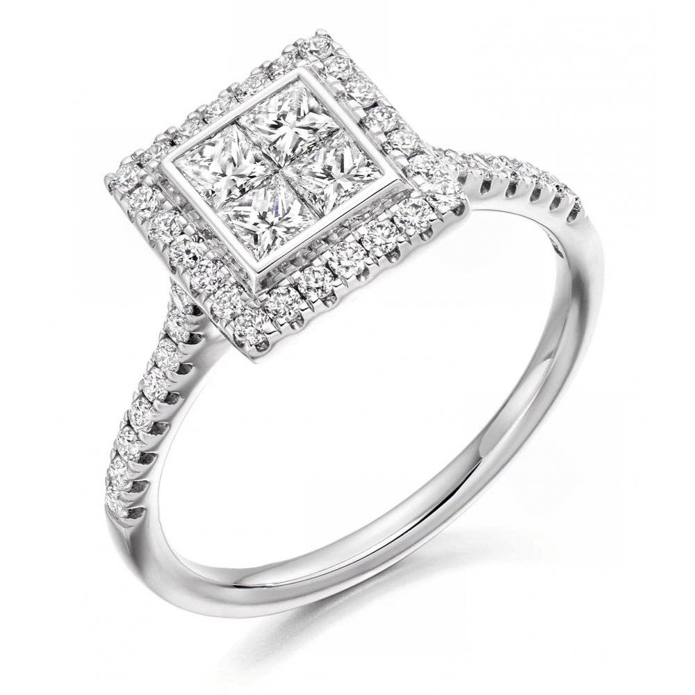 The Raphael Collection Platinum 0.75Ct Invisible Set Princess In Invisible Setting Engagement Rings (Gallery 10 of 15)