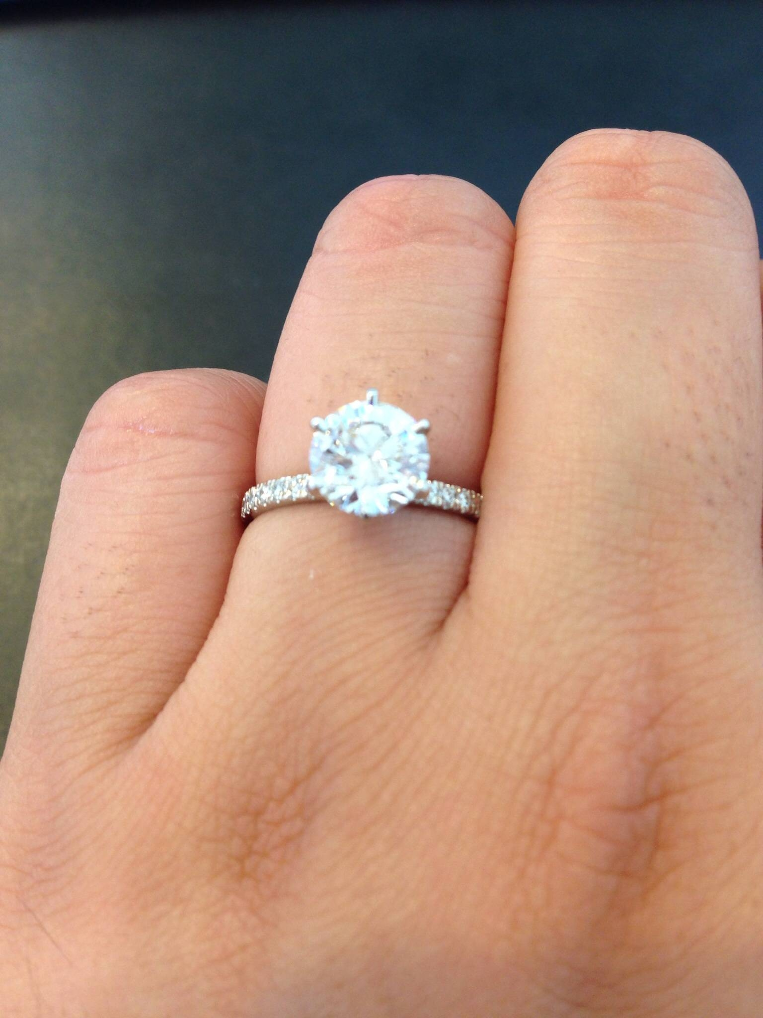 Thin Band Engagement Ring? – Weddingbee With 1.5 Mm Pave Engagement Rings (Gallery 7 of 15)