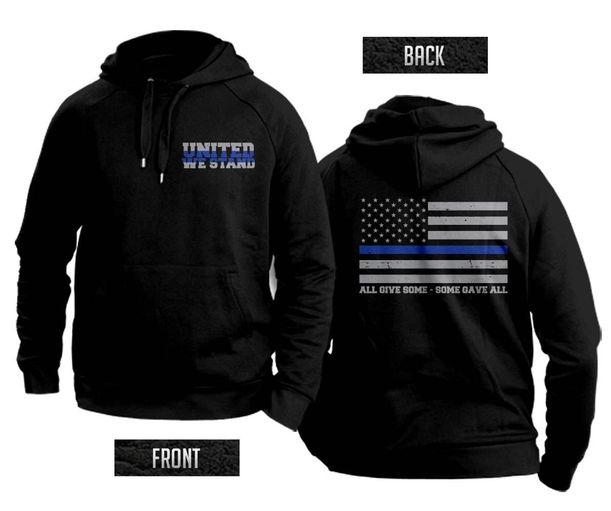Thin Blue Line Flag United We Stand Hooded Sweatshirt Support Regarding Thin Blue Line Engagement Rings (View 11 of 15)