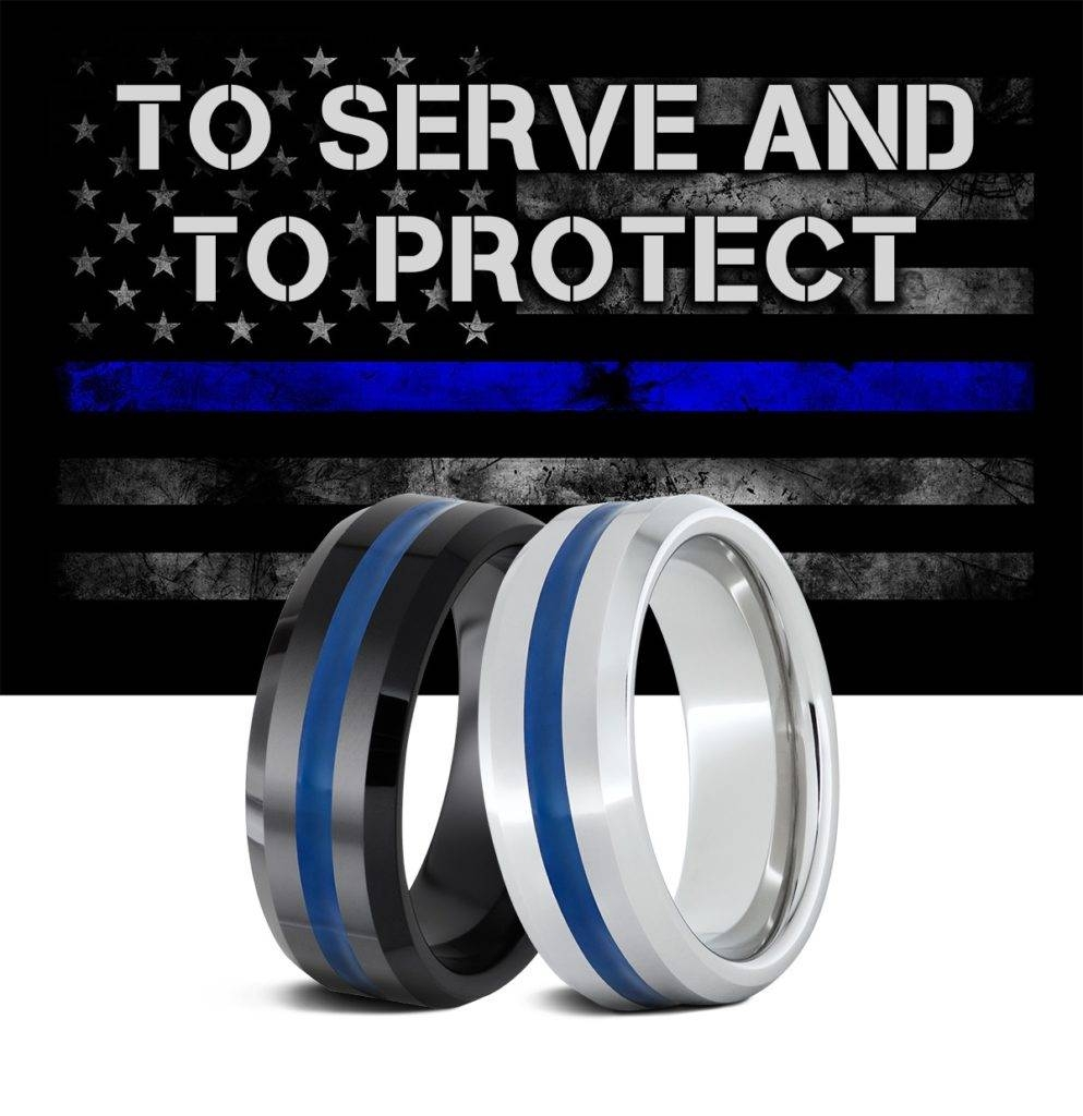 Thin Blue Line Serinium® Rings — Serinium For Thin Blue Line Wedding Bands (View 13 of 15)
