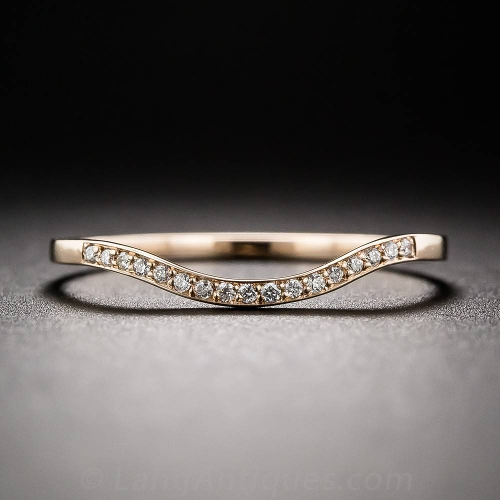 Thin Diamond Contoured Wedding Band With Thin Wedding Bands With Diamonds (View 9 of 15)