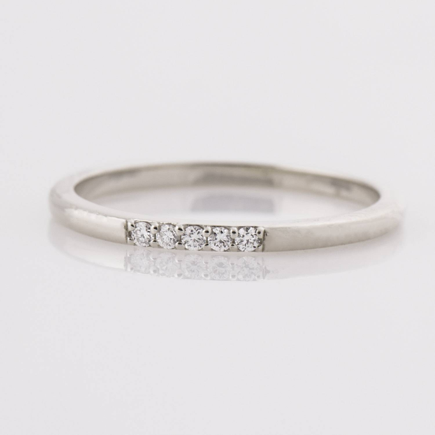 Thin Diamond Ring 14k White Gold Stacking Ring Dainty Intended For Thin Wedding Bands With Diamonds (View 11 of 15)