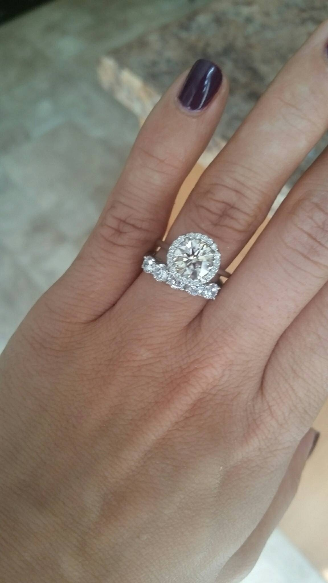Thin Engagement Ring Thick Wedding Band – Weddingbee Intended For Engagement Rings With Bands (View 10 of 15)