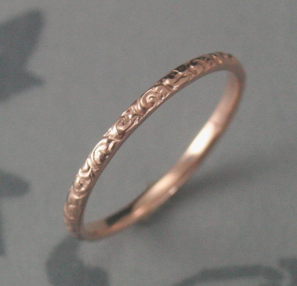 Thin Rose Gold Wedding Ring14K Rose Gold Rococo In The Disco Inside Rose Gold Wedding Bands (View 15 of 15)