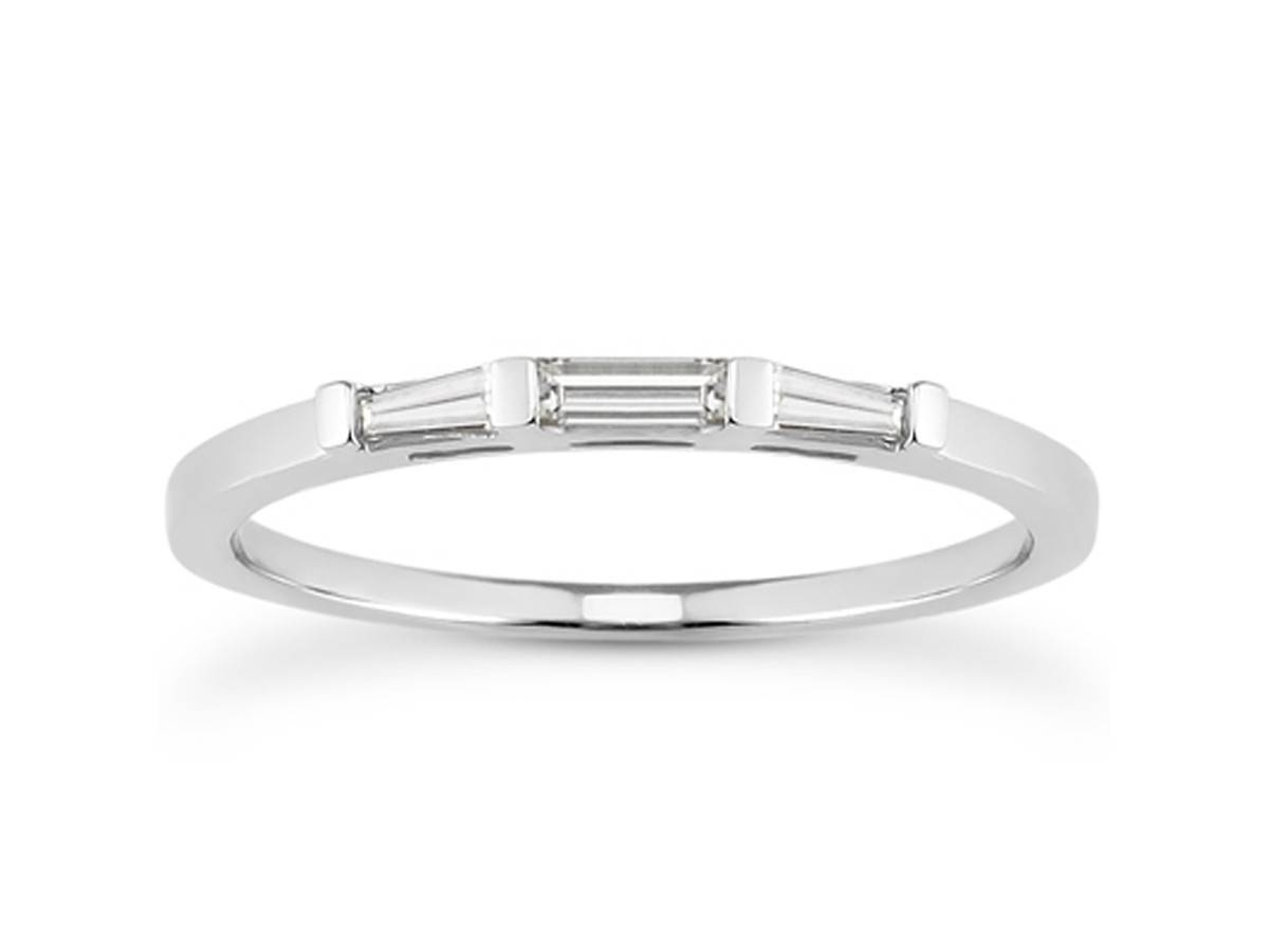 Thin Tapered Baguette Diamond Wedding Band In 14k White Gold With Regard To Baguette Diamond Wedding Rings (View 14 of 15)