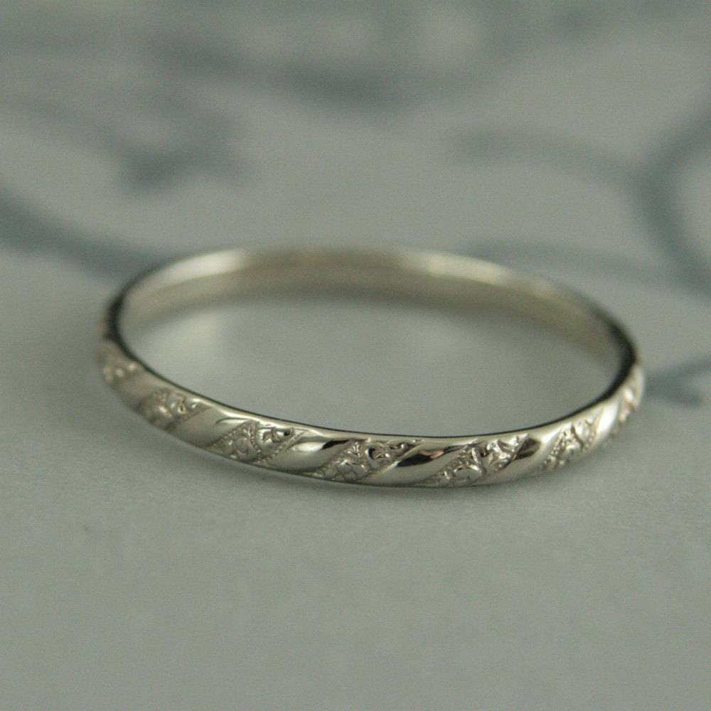 Thin White Gold Bandversailles Pattern Bandwomen's With Etsy Vintage Wedding Bands (View 11 of 15)