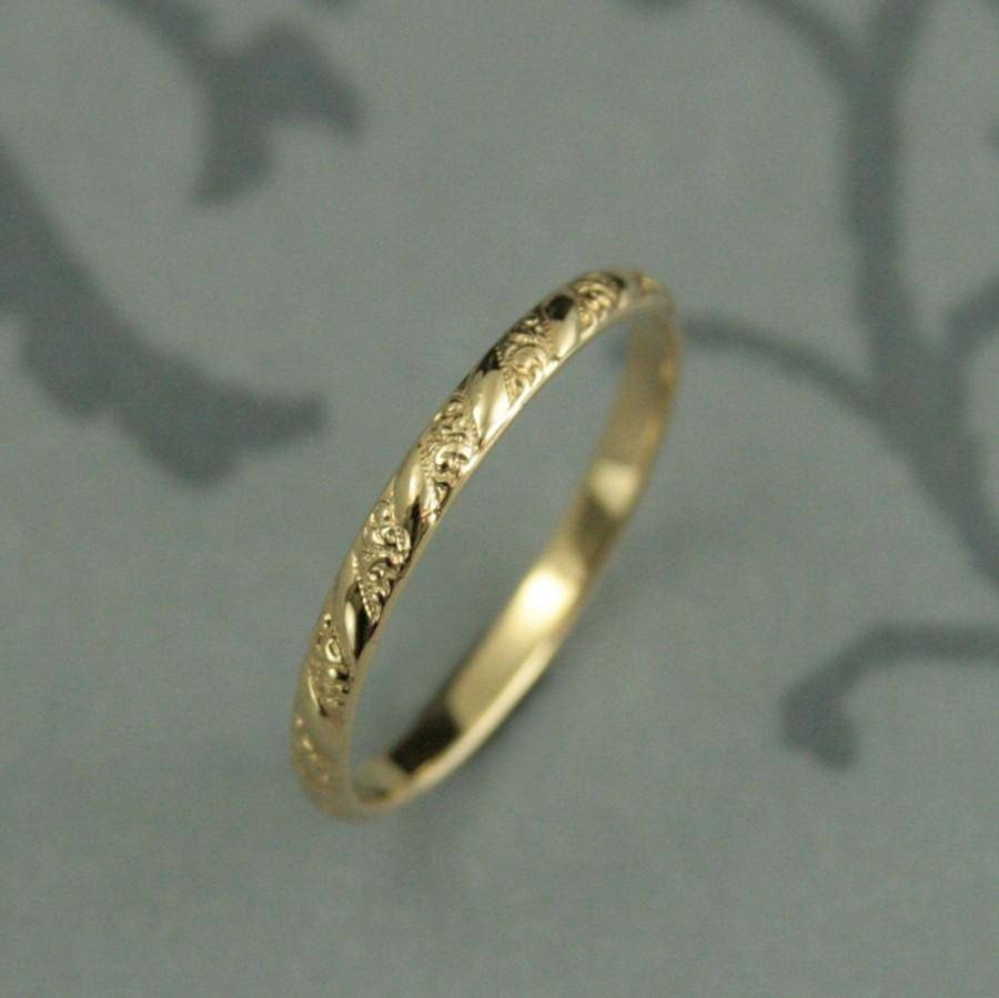 Thin Yellow Gold Band–Versailles Pattern Band–Women's Yellow Regarding Thin Wedding Rings (View 13 of 15)