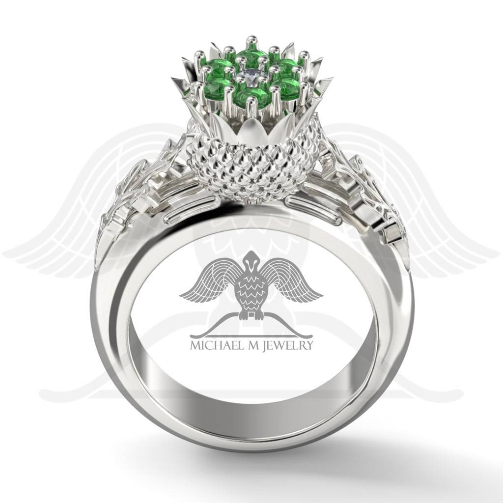 Thistle Flower Leaf Scottish Engagement Ring, 7 Small Stones, (View 13 of 15)
