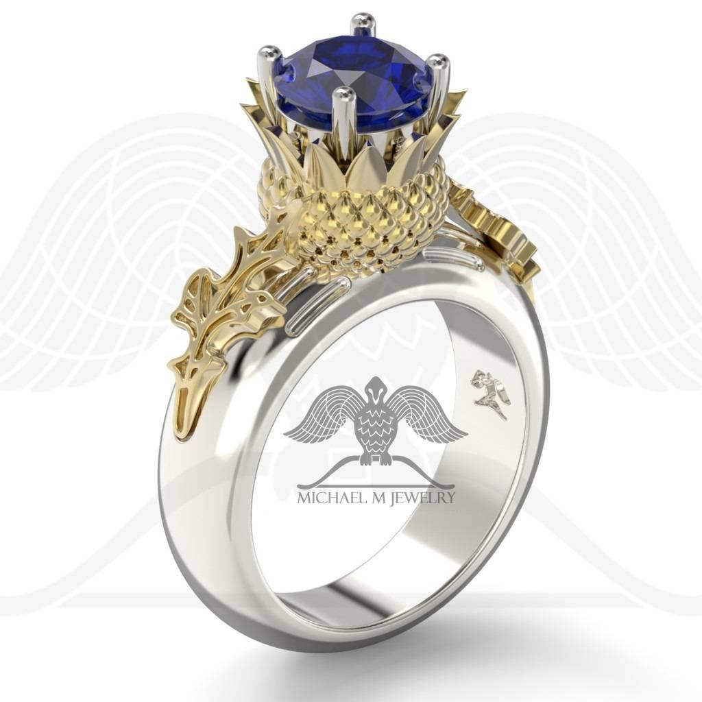 Thistle Flower Leaf Scottish Engagement Ring .925 Or 14K White In Scottish Engagement Rings (Gallery 1 of 15)