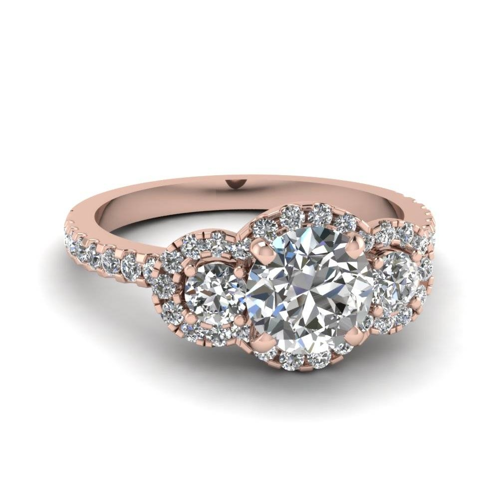 Three Round Halo Diamond Engagement Rings In 14K Rose Gold Regarding Three Gold Wedding Rings (View 11 of 15)