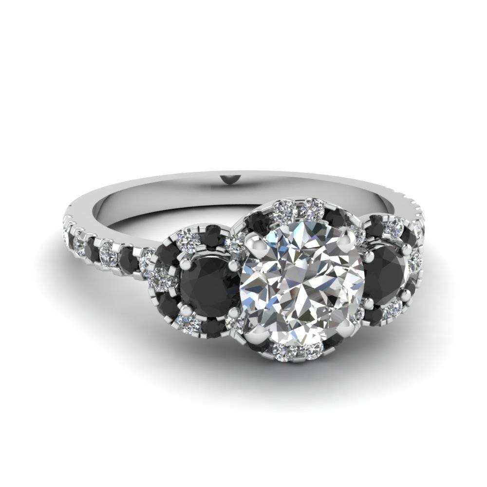 Three Round Halo Diamond Engagement Rings In 14K White Gold With Trinity Diamond Engagement Rings (View 5 of 15)