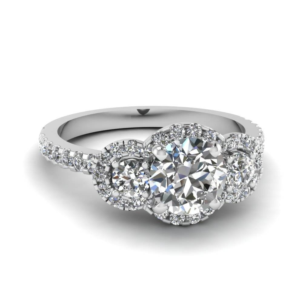 Three Round Halo Diamond Engagement Rings In 14K White Gold With Trinity Diamond Engagement Rings (Gallery 1 of 15)