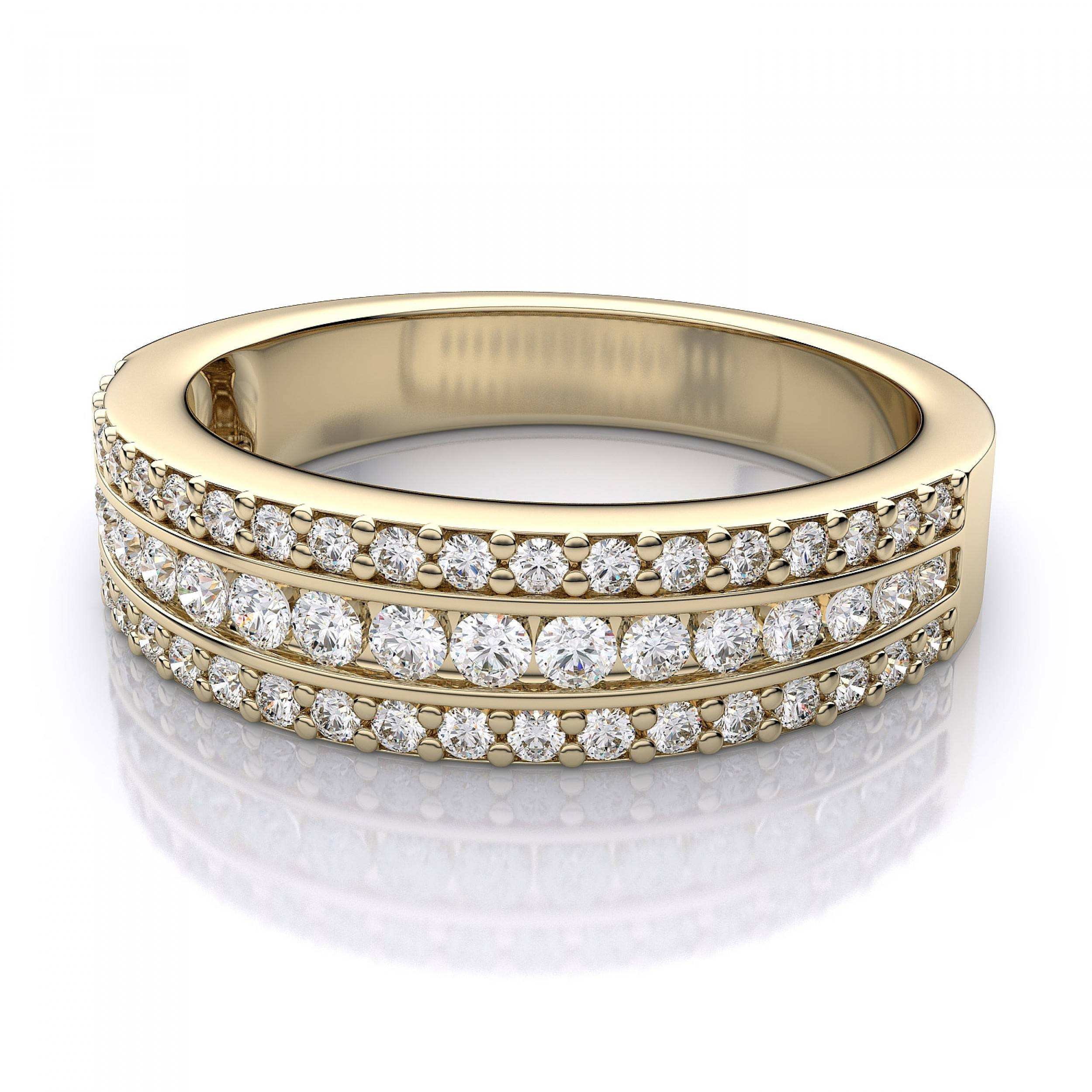 Three Row Diamond Wedding Band In 14K Yellow Gold Regarding Three Gold Wedding Rings (View 12 of 15)