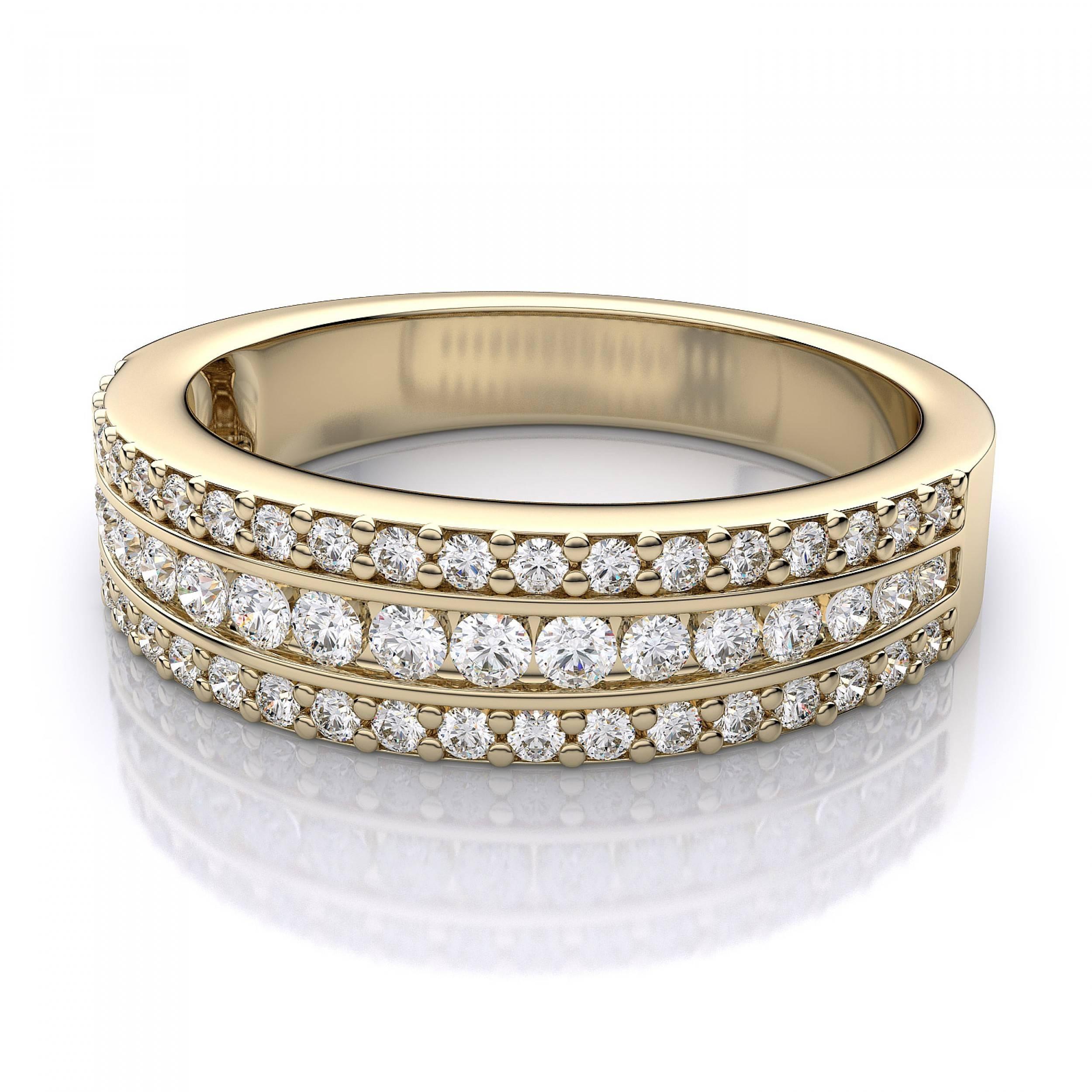 Three Row Diamond Wedding Band In 14k Yellow Gold Regarding Three Gold Wedding Rings (View 12 of 15)